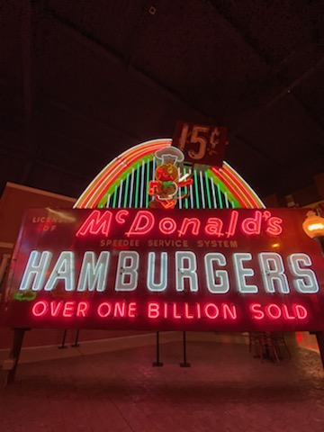 McDonald's Hamburger old neon sign in the American Sign Museum