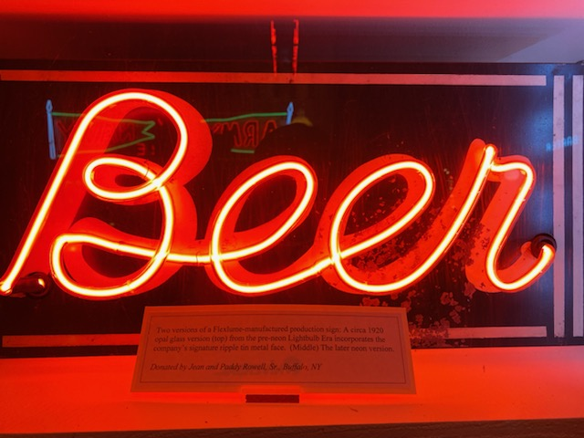 Neon beer sign in the American Sign Museum