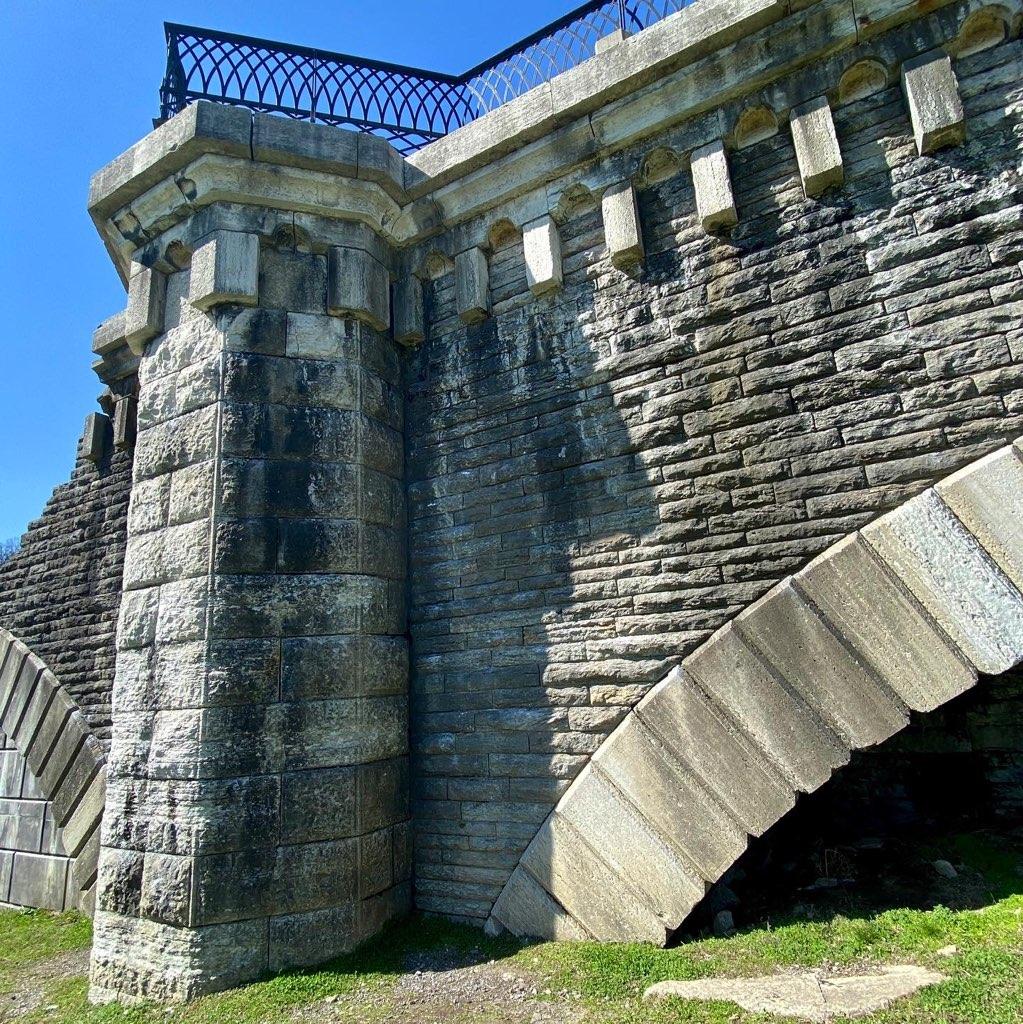 Rock climbing wall at Eden Park in Cincinnati, Ohio