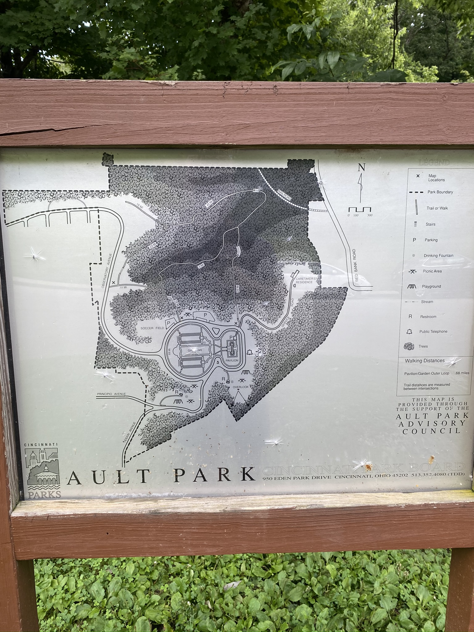 Map of Ault Park trails in Cincinnati, Ohio